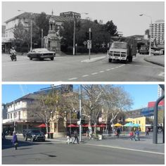 Macquarie and Church Street intersection, Parramatta 1980s & 2015 [1980s-Parramatta Heritage Centre>2015-Allan Hawley]