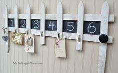 Repurposed Picket Fence Garden Border to decorative storage with hooks