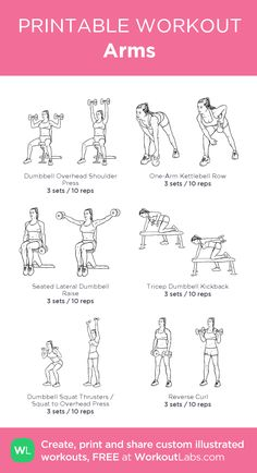 Arm Workouts At Home, Gym Workouts, Arms Workout Gym, Free Weight Arm Workout, Revenge Body Workout, Dumbbell Workout, Begginer Workout, Workout Bauch, Printable Workouts