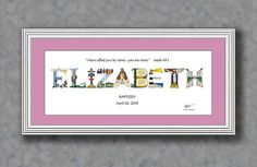 Christening Gifts for Girls Personalized - Goddaughter gifts - Matted Print - Christian Gifts from The Christian Alphabet™ Personalised Christening Gifts, Christening Gifts For Girls, Baby Girl Baptism, Girl Christening, Personalized Baby, Baby Boy, Kids Name Art, Art Wall Kids, Kids Artwork