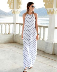 J.Crew women's chevron maxidress and Birkenstock® for J.Crew Arizona sandal.