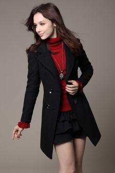 $56.49 New Style Turndown Collar Long Sleeve double breasted Black Wool Coat. Love this style coat with a red turtleneck!