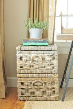 Birch Lane baskets, they have metal hinges for safe storage with kids.