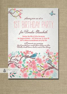 First Birthday Invitation Pink Gold by HauteChocolateFavors