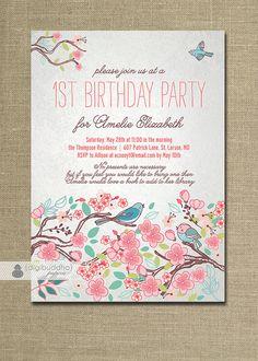 Bloom Bird Birthday Invitation Garden Party by digibuddhaPaperie, $20.00