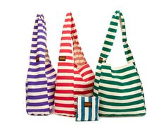 Striped Canvas Bag by Vine Street from Alicia Silverstone >> Love these organic bags!