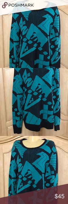 Designer sweater aqua color Sweater long sleeves round neckline  print in black and aqua size 18   100% cotton sweater  Sweaters