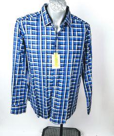 "Robert Graham Blue Tartan Bowler Hat LogoBlue Plaid - Fabulous ShirtSize LBack Length - ( center back neck seam to hem)Width 24 "" flat armpit to armpit ( multiply by 2 for approx. circumference )Sleeve (center back neck seam to cuff)New with Tags Bowler Hat, Robert Graham, Blue Plaid, Tartan, Men Casual, Shirt Dress, Flat, Tags, Sleeves"