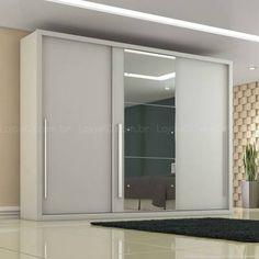 Guarda-roupa 3 Portas de Correr Selenium 100% MDF Com Espelho Branco - Novo Horizonte
