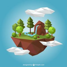 Rural landscape in polygonal style Free Vector
