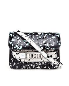 Proenza Schouler - black, white and turquoise paint splattered printed leather PS11