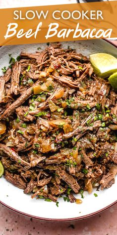 Tender, juicy, melt-in-your-mouth slow cooked Beef Barbacoa is loaded with bold Mexican flavors and ready for your tacos, burritos, salads, or nachos! #barbacoa #beefrecipes #slowcookerrecipe Slow Cooked Beef, Crock Pot Slow Cooker, Slow Cooker Recipes, Crockpot Recipes, Beef Dishes, Food Dishes, Mexican Dishes, Mexican Food Recipes, Best Comfort Food