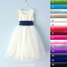 Flower girl dress - IVORY, Wedding Junior Bridesmaid, Easter Dress, First Communion For Children Toddler Kids Teen Girls, 16 sash colors