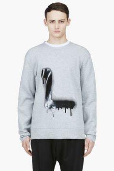 Lanvin Heather Grey Spray Paint L Sweater for men | SSENSE
