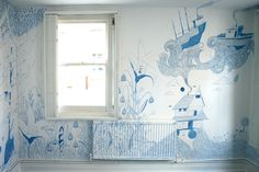 Melissa Castrillon's 2-month ongoing art exhibition Outlines - the whole room is going to be covered in her drawings