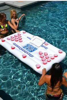 If you're looking for pool party or birthday ideas, the GoPong Original Pool Party Barge Floating Beer Pong Table  is one of the best backyard games, pool games, and pool floats for adults, picked by Strategist editors. Fun Pool Games, Summer Party Games, Fun Outdoor Games, Adult Party Games, Summer Pool Party, Summer Bash, Backyard Games, Beach Games For Adults, Pool Floats For Adults