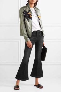 FRAME - Le Crop Bell Frayed Mid-rise Flared Jeans - Black -