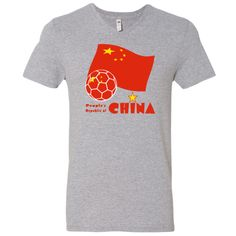 Flying the background one sees the flag of the People's Republic of China. In the front, is a soccer ball, filled in with the flag. Below it all, in red words, reads, PEOPLE'S REPUBLIC OF CHINA.<br /><br /> Design shows on Men's V-Neck  T-Shirts. <br /><br /> Support TEAM CHINA in international soccer ball or football matches!<br /><br /> You can add text to this image on your item to personalize or customize it. $22.99 ink.flagnation.com