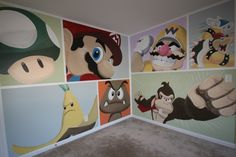 Super Mario Brothers themed Bedroom This bedroom mural has all the Super Mario characters Mario, Luigi, Wario, Bowser, and Donkey Kong! Awesome for a boys room or girls room.  Watch How it was done! http://www.youtube.com/watch?v=1t7-MexhAa4