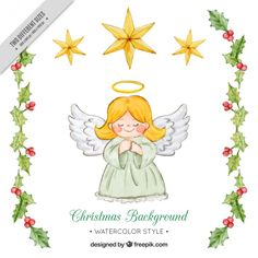 Cute angel background and watercolor mistletoe details Free Vector