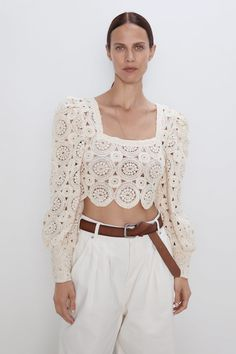 Semi-sheer knit top with straight neck and long puff sleeves with wide cuffs. This item is unlined. Crochet Blouse, Crochet Top, Crochet Clothes, Diy Clothes, Top Boho, Bikinis Crochet, Gilet Long, Jumpsuit Dress, Crochet Fashion