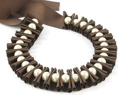 Ribbon jewelry chocolate brown pleated ribbon por DapriJewels, £20.00