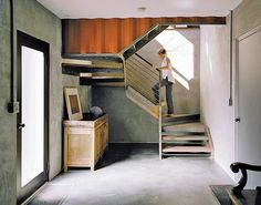Stairway of shipping container home in Pennsylvania off the Delaware River