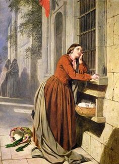 """""""Mother Depositing Her Child in the Foundling Hospital in Paris"""" Henry Nelson O'Neil"""