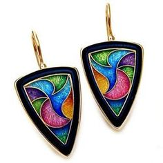 """MAGICK Serenity Collection, exquisite cloisonne earrings in 14k gold. Each earring is signed Fusager and inscribed with the Magick Logo. They are approximately 3/4"""" long."""