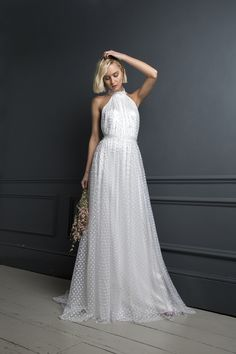 The new collection of Halfpenny London wedding dresses and bridal separates are stylish and fun. Bending gender conventions and celebrating femininity Italian Wedding Dresses, Elegant Wedding Gowns, Country Wedding Dresses, Dress Wedding, Italian Weddings, High Neck Wedding Dresses, Wedding Shot, Wedding Music, Country Weddings