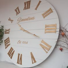 wall clock, golden roman numerals, Personalized oversized wall clock, white wall clock, white and gold Gold Wall Clock, Big Wall Clocks, White Wall Clocks, Wall Clock Wooden, Wood Clocks, Oversized Clocks, Wedding Gifts For Couples, Large Clock, Gold Walls