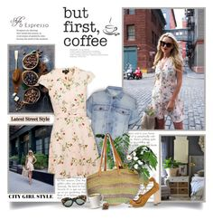"""""""Style & Espresso"""" by thewondersoffashion ❤ liked on Polyvore featuring Retrò, CoffeeShop, Current/Elliott, Topshop, Jimmy Choo and Karen Walker"""