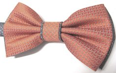 Mens Bow Tie. Bow Ties. Burnt Rust Orange and Gray by TieObsessed