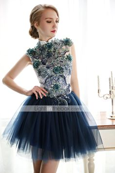 Homecoming Cocktail Party Dress - Ink Blue A-line High Neck Short/Mini Lace/Tulle 2015 – $53.99