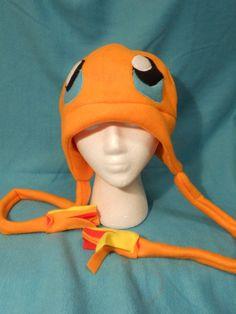 Pokemon Charmander Fleece Hat MADE TO ORDER by Higginstuff on Etsy, $20.00