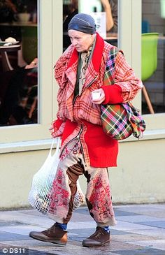 Bag lady: Vivienne Westwood was spotted wearing this eccentric outfit in London yesterday
