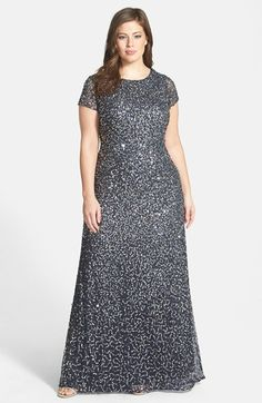 Adrianna+Papell+Embellished+Scoop+Back+Gown+(Plus+Size)+available+at+#Nordstrom