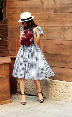 Zara Black And White Checkered Fit And Flare Midi Dress