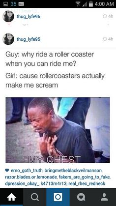Cause rollercoasters actually make me scream.