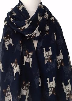 6215d4c09 French Bulldogs Scarf Large navy blue scarf with a French Bulldog print  long wide and very