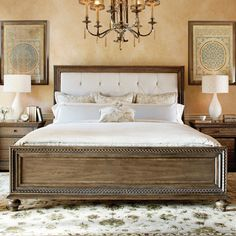 Features:  -Renaissance collection.  Frame Material: -Wood.  Headboard Included: -Yes.  Footboard Included: -Yes.  Finish or Fabric: -White. Dimensions: Size Queen -  Overall Width - Side to Side: -66