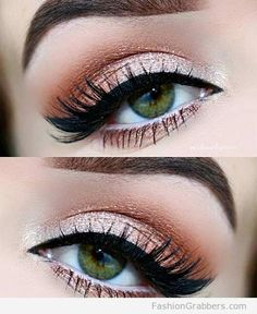 Pretty and amazing Pretty Green Eye Makeup with rose gold shadow
