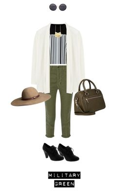 """Military Green #2"" by chintyar ❤ liked on Polyvore featuring Alexander Wang, The Great, Rebecca Taylor, Linda Farrow, Barneys New York, GREEN, military and militarygreen"