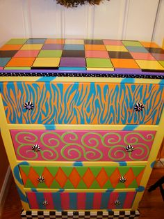 Hand Painted Dresser, Repinned from Hand Painted Furniture, walls light fixtures by Eles Page Skinner