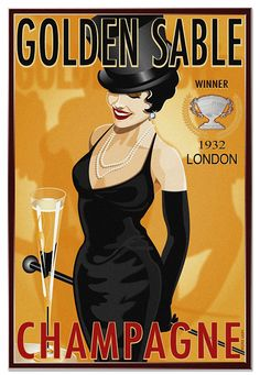 Vintage 1932 London Champagne Winner Liquor Golden Sable  Top Hat Ad Giclee Art Print Stretched Canvas Option