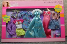 2000 Barbie 6 Fashion Gift Pack Blue Gold Gown with Fur   eBay