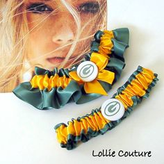 Packers Football Garters Personalized Wedding by lolliecouture