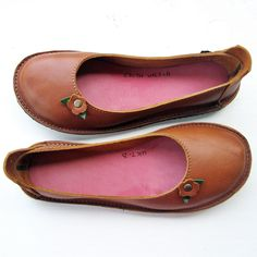 Size 7, Handmade shoes, Eco Tanned TOFFEE leather, 1739 EDITH by Fairysteps. £134.00, via Etsy.