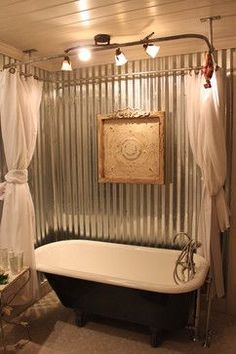 Claw Foot Tub farmhouse bathroom with tin walls. House Bathroom, New Homes, Rustic House, Bathrooms Remodel, Home, Bathroom Design, Farmhouse Bathroom, Shabby Chic Bathroom, Clawfoot Tub