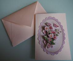 Handmade 3D Flowers Pearlescent Cream Card by HandmadeVCreations